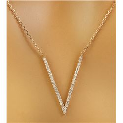 "0.40 CTW Diamond 18K Rose Gold ""V"" Necklace"