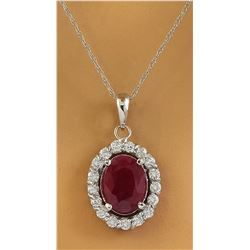 2.00 CTW Ruby 18K White Gold Diamond Necklace