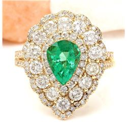 3.90 CTW Natural Emerald 18K Solid Yellow Gold Diamond Ring
