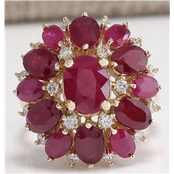 7.72 CTW Natural Red Ruby And Diamond Ring 18K Solid Yellow Gold