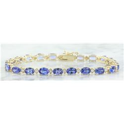 13.45 CTW Tanzanite 14K Yellow Gold Diamond Bracelet