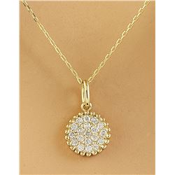 0.22 CTW Diamond 18K Yellow Gold Medallion Pendant Necklace