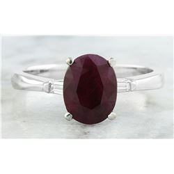 1.70 CTW Ruby 18K White Gold Diamond Ring