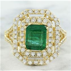3.25 CTW Emerald 14K Yellow Gold Diamond Ring