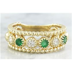 0.62 CTW Emerald 18K Yellow Gold Diamond Ring