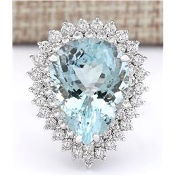 14.66 CTW Natural Aquamarine And Diamond Ring In 18K White Gold