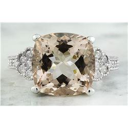 7.85 CTW Morganite 18K White Gold Diamond Ring