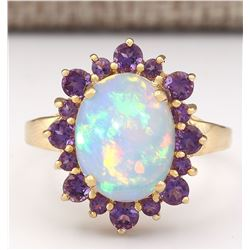 4.51 CTW Natural Opal And Amethyst Ring In 14k Yellow Gold