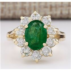 2.30 CTW Natural Emerald And Diamond Ring In 18K Yellow Gold