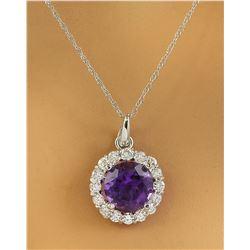 1.82 CTW Amethyst 18K White Gold Diamond Necklace