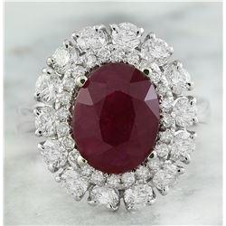 4.10 CTW Ruby 18K White Gold Diamond Ring