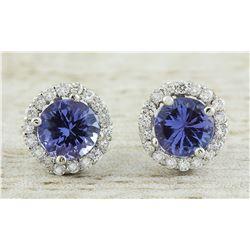 2.40 CTW Tanzanite 14K White Gold Diamond Earrings