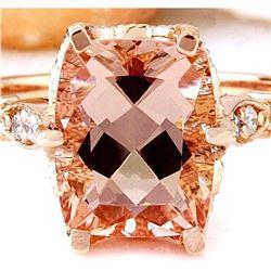 3.4 CTW Natural Morganite 18K Solid Rose Gold Diamond Ring
