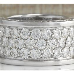 4.20 CTW Natural Diamond Ring In18K Solid White Gold