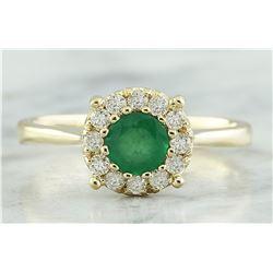 0.62 CTW Emerald 18K Yellow Gold Diamond Ring