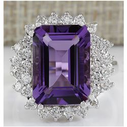 7.50 CTW Natural Amethyst And Diamond Ring In 18K White Gold