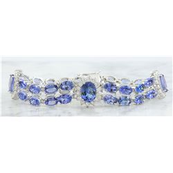 25.20 CTW Tanzanite 18K white Gold Diamond Bracelet