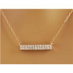 0.40 CTW Diamond 18K Rose Gold Double Bar Necklace