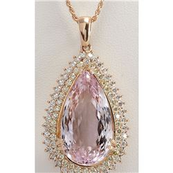 38.92 CTW Natural Kunzite And Diamond Pendant In 14K Solid Rose Gold