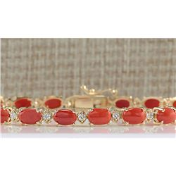 8.77 CTW Natural Red Coral And Diamond Bracelet In 18K Yellow Gold