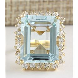 12.30 CTW Natural Blue Aquamarine And Diamond Ring In 18K Yellow Gold