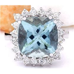 7.01 CTW Natural Aquamarine 18K Solid White Gold Diamond Ring