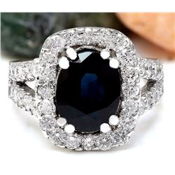 3.52 CTW Natural Sapphire 18K Solid White Gold Diamond Ring