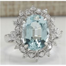 4.48 CTW Natural Aquamarine And Diamond Ring In 18K Solid White Gold