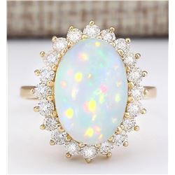 7.15 CTW Natural Opal And Diamond Ring In 14k Yellow Gold
