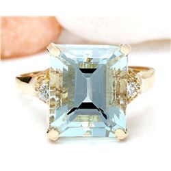 5.16 CTW Natural Aquamarine 18K Solid Yellow Gold Diamond Ring