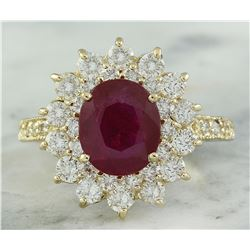 3.30 CTW Ruby 18K Yellow Gold Diamond Ring