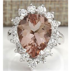 6.16 CTW Natural Peach Morganite And Diamond Ring In 18K Solid White Gold