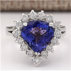 4.34 CTW Natural Blue Tanzanite And Diamond Ring 18K Solid White Gold