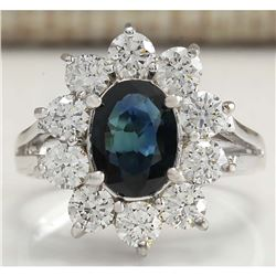 2.83 CTW Natural Blue Sapphire Diamond Ring 14K Solid White Gold