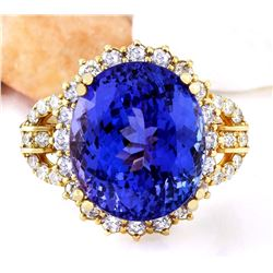15.03 CTW Natural Tanzanite 18K Solid Yellow Gold Diamond Ring