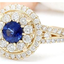 2.10 CTW Natural Sapphire 18K Solid Yellow Gold Diamond Ring
