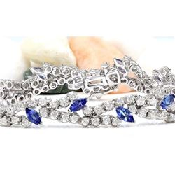 8.50 CTW Natural Tanzanite 18K Solid White Gold Diamond Bracelet