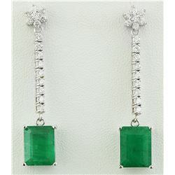 5.87 CTW Emerald 18K White Gold Diamond Earrings