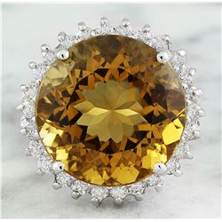 18.40 CTW Citrine 18K White Gold Diamond ring