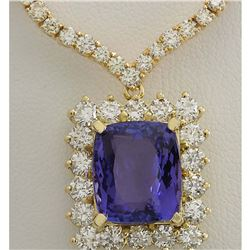 22.92CTW Natural Tanzanite And Diamond Necklace In 14K Yellow Gold