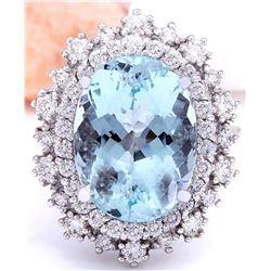 7.50 CTW Natural Aquamarine 18K Solid White Gold Diamond Ring