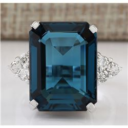 14.04 CTW Natural London Blue Topaz And Diamond Ring In18K Solid White Gold