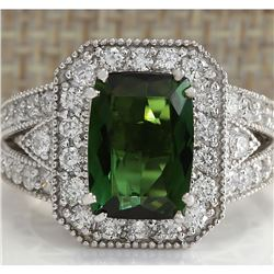 4.72 CTW Natural Green Tourmaline And Diamond Ring 18K Solid White Gold