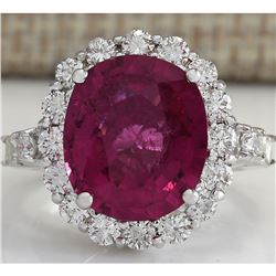 6.92 CTW Natural Rubelite And Diamond Ring In14k White Gold