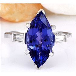 5.30 CTW Natural Tanzanite 18K Solid White Gold Diamond Ring