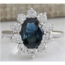 3.12 CTW Natural Blue Sapphire Diamond Ring 18K Solid White Gold