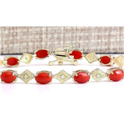 5.88 CTW Natural Coral And Diamond Bracelet In 14k Yellow Gold