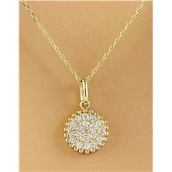 0.22 CTW Diamond 14K Yellow Gold Medallion Pendant Necklace