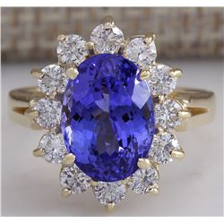 5.37 CTW Natural Blue Tanzanite And Diamond Ring 18K Solid Yellow Gold