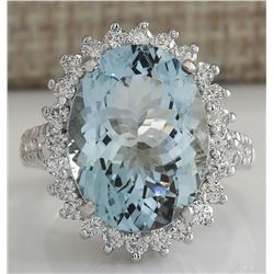 9.04 CTW Natural Aquamarine And Diamond Ring In 18K Solid White Gold